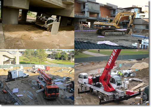 Library Construction Collage of Bulldozers and Diggers