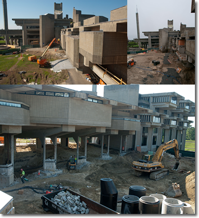 Collage of pictures showing library construction