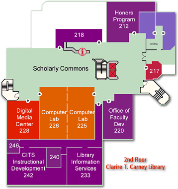 Library Floor Map - 2nd Floor - Digital Media Center