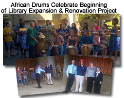 Collage of pictures of African Drum Celebration of Beginning of Library Building Project