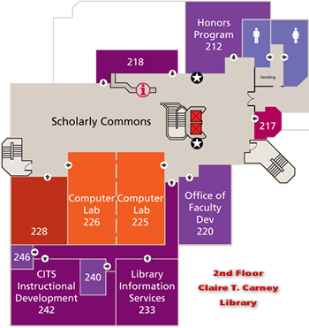 Map of Library 2nd Floor Showing the Scholarly Commons & Digital Media Center