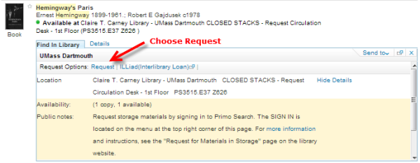 "Image of record with arrow pointing to request link: Words ""Choose Request"""