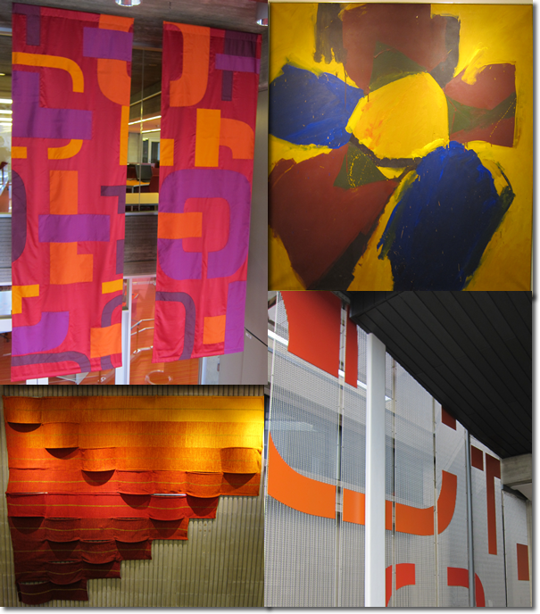 Colorful banners, a painting, outside library letter graphics on ramp, and fabric art