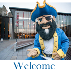 Welcome Back! Hope you enjoyed your break! Image of Arnie the Corsair Welcoming You to the Library