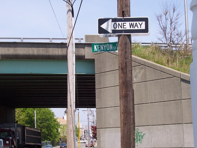 Kenyon Street sign near the I 195 overpass