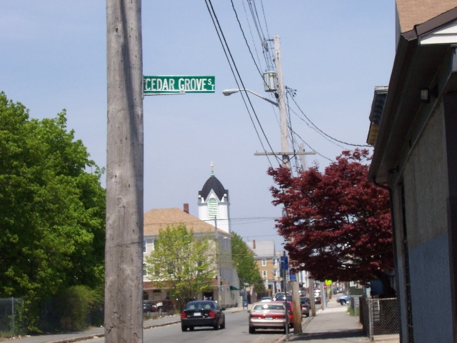 Contemporary photo of the corner of Cedar Grove and Kenyon Streets, near the location of Chesed Shel Emes