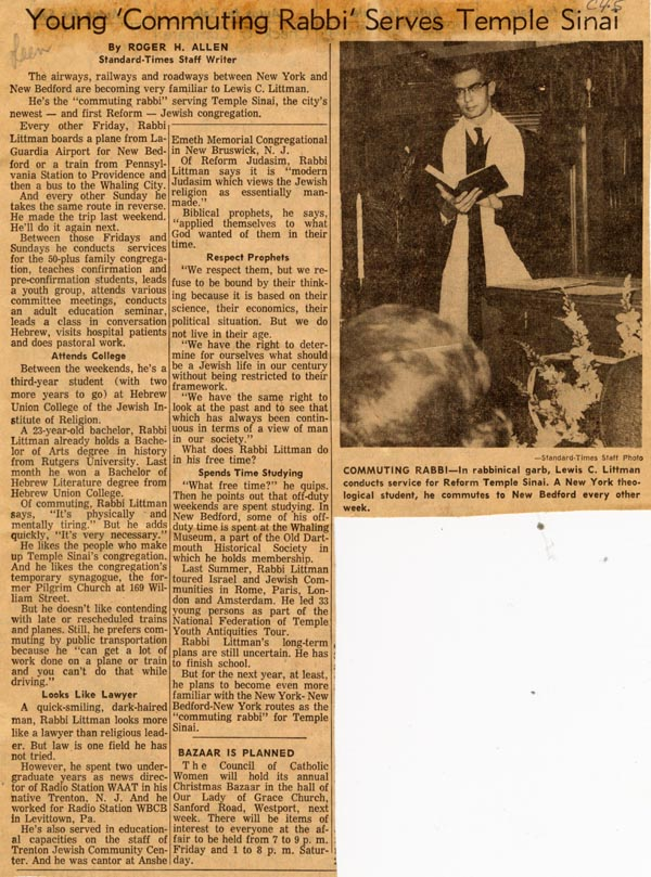A 1964 newspaper clipping from the Standard Times about Rabbi Lewis C. Littman's service to Temple Sinai