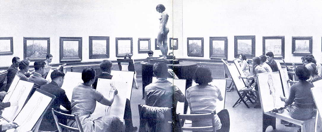 Life drawing class in Crapo Gallery, c.1933
