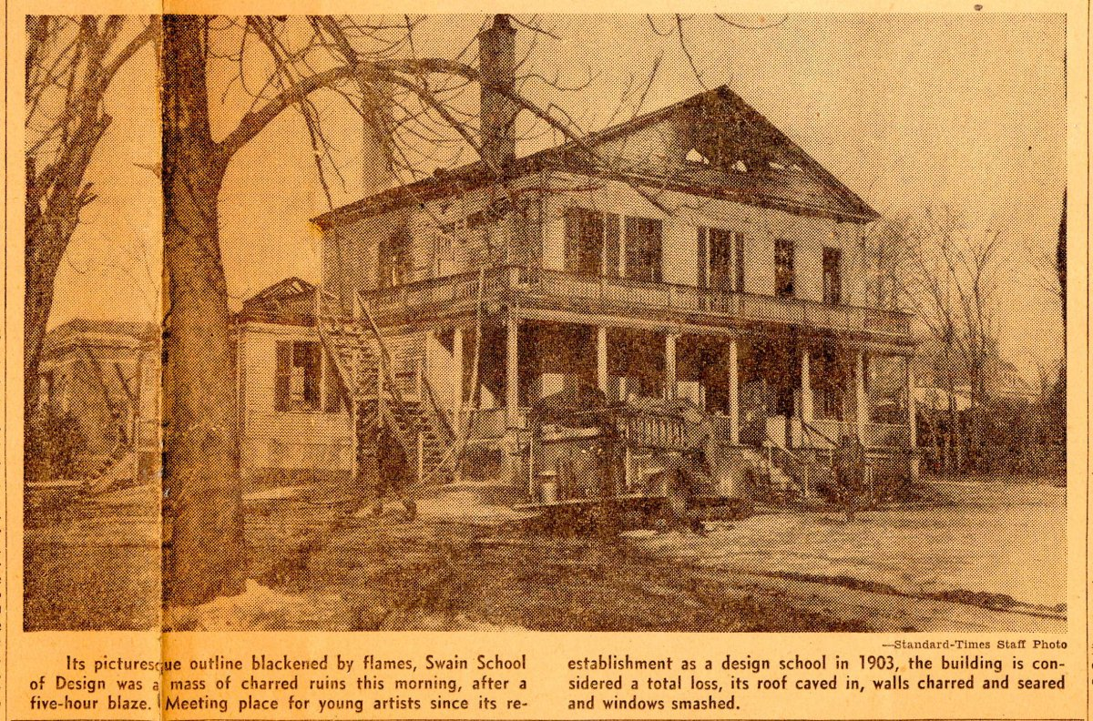 Newspaper clipping of the burnt Swain homestead-dated March 13th 1948