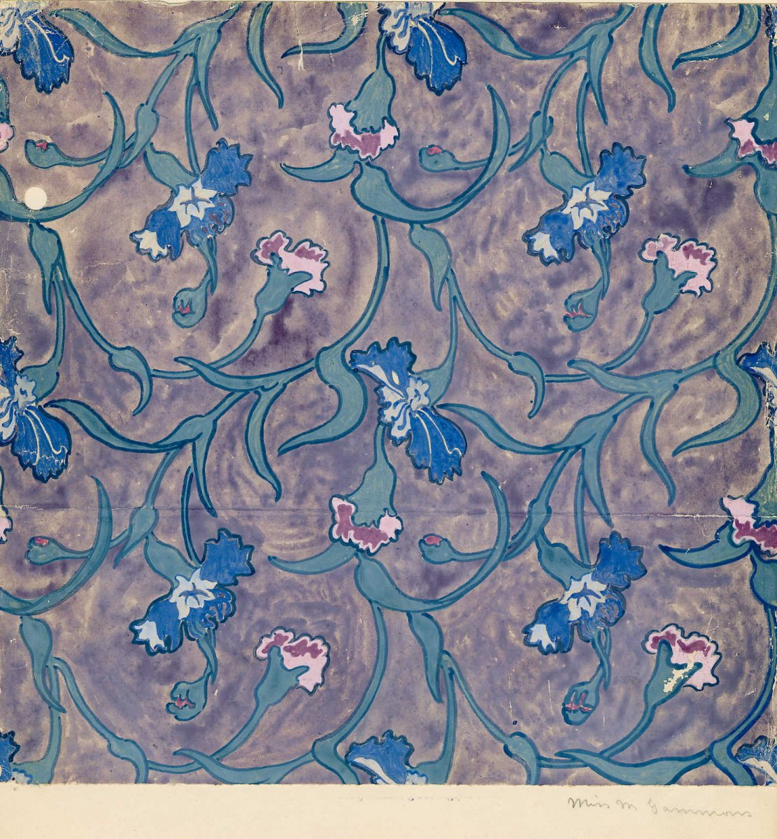 Textile surface pattern design, gouache on paper, by Molly Gammons, 1917