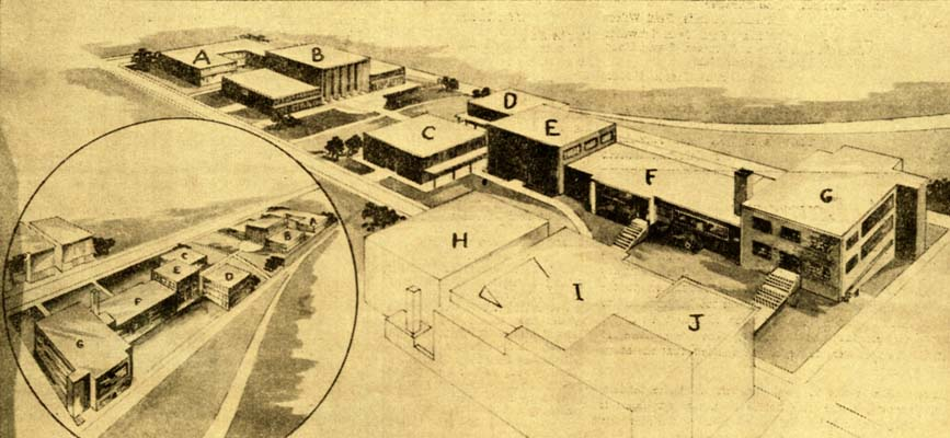 The proposed plan including the following buildings shown in the picture         above: A) Research and Graduate building B) Administration and Faculty         building C) Library D) Student and Union building E) Arts and Science         Building F) existing Engineering and Science Building G) Auditorium H),         I), J), existing Chemistry and Engineering Building, Library and Arts         Building, and Textile Engineering Building