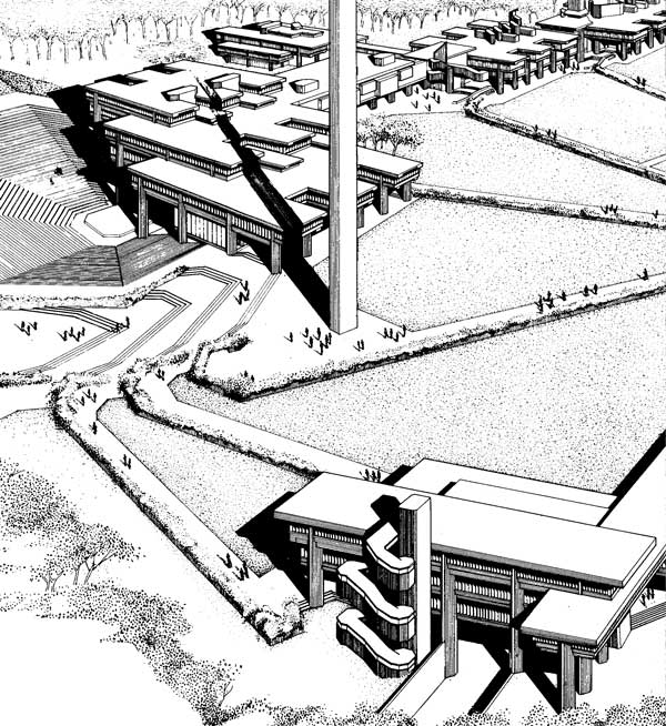 Architect Paul Rudolph's           rendering of the North Dartmouth Campus, with the library at the center,           1966